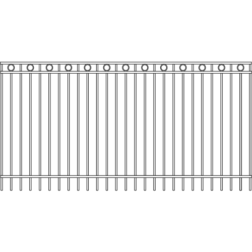 Modern Picket Iron Fence Double Rail Circle Rail Accent