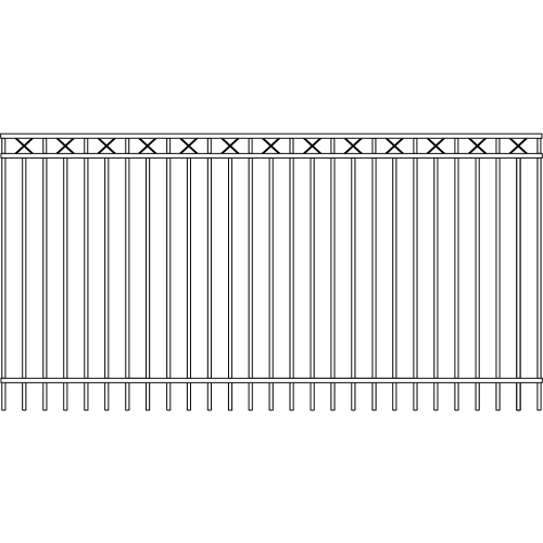 Modern Picket Iron Fence Double Rail Cross Rail Accent