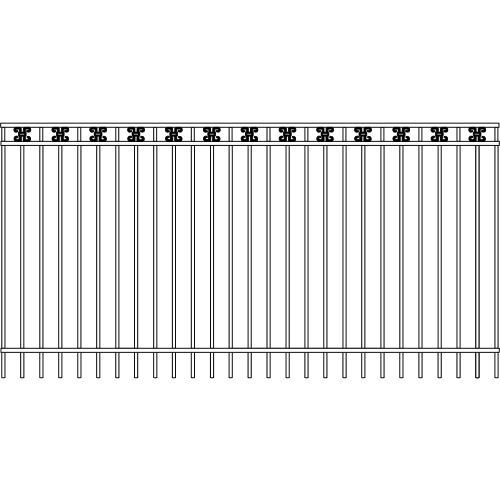 Modern Picket Iron Fence Double Rail Ribbon Rail Accent