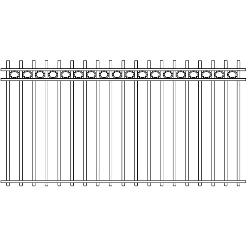Picket Double Rail Iron Fence Circle Rail Accent