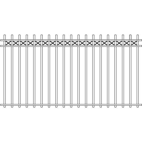 Picket Double Rail Iron Fence Cross Rail Accent