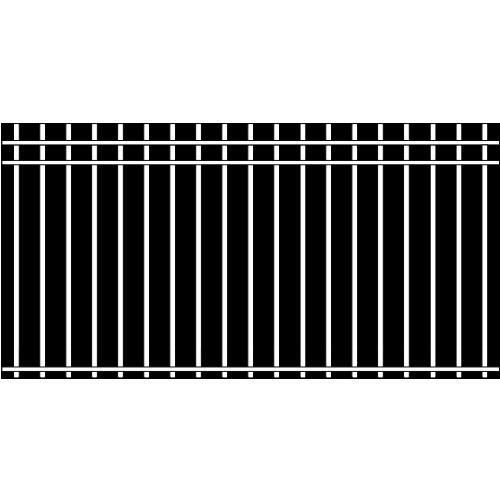 Picket Double Rail Iron Fence