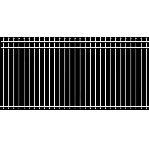 Spade Double Rail Iron Fence Cross Rail Accent