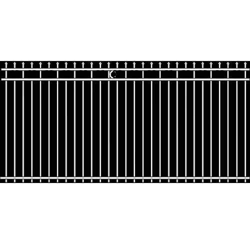 Spade Double Rail Iron Fence Ribbon Rail Accent