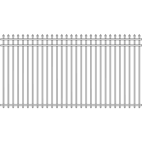 Spade Double Rail Iron Fence