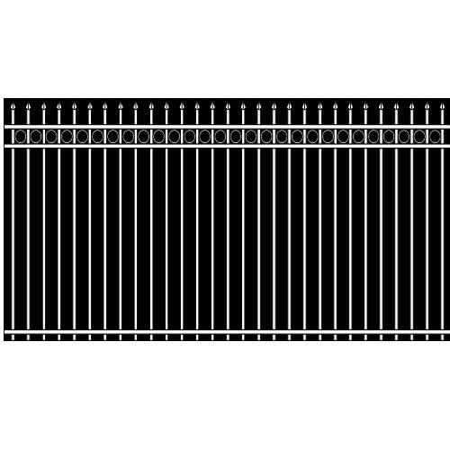 Spear Head Double Rail Iron Fence Circle Rail Accent