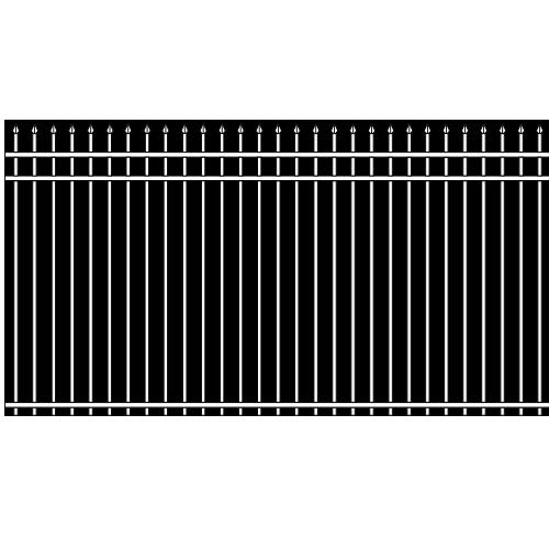 Spear Head Double Rail Iron Fence Cross Rail Accent