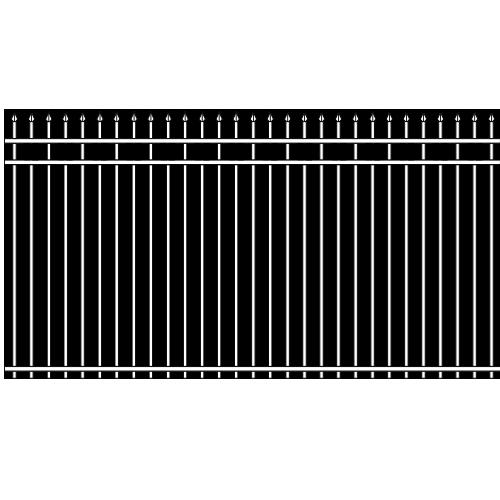 Spear Head Double Rail Iron Fence Ribbon Rail Accent
