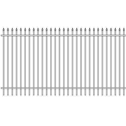 Spear Head Single Rail Iron Fence