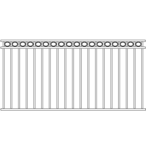 Standard Double Rail Iron Fence Circle Rail Accent