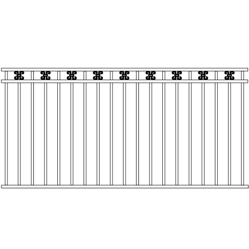 Standard Double Rail Iron Fence Ribbon Rail Accent