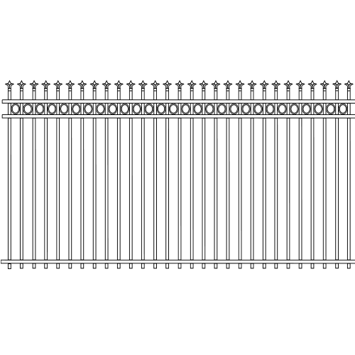Traditional Double Rail Picket Iron Fence Circle Rail Accent