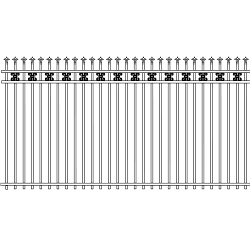 Traditional Double Rail Picket Iron Fence Ribbon Rail Accent