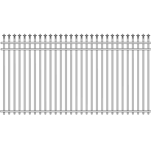 Traditional Double Rail picket Iron Fence